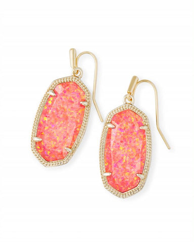 Dani Earrings Gold Coral Kyocera Opal