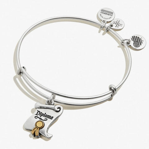 ALEX & ANI WIZARD OF OZ, DIPLOMA CHARM BANGLE TWO TONE RAFAELIAN SILVER AND RAFAELIAN GOLD