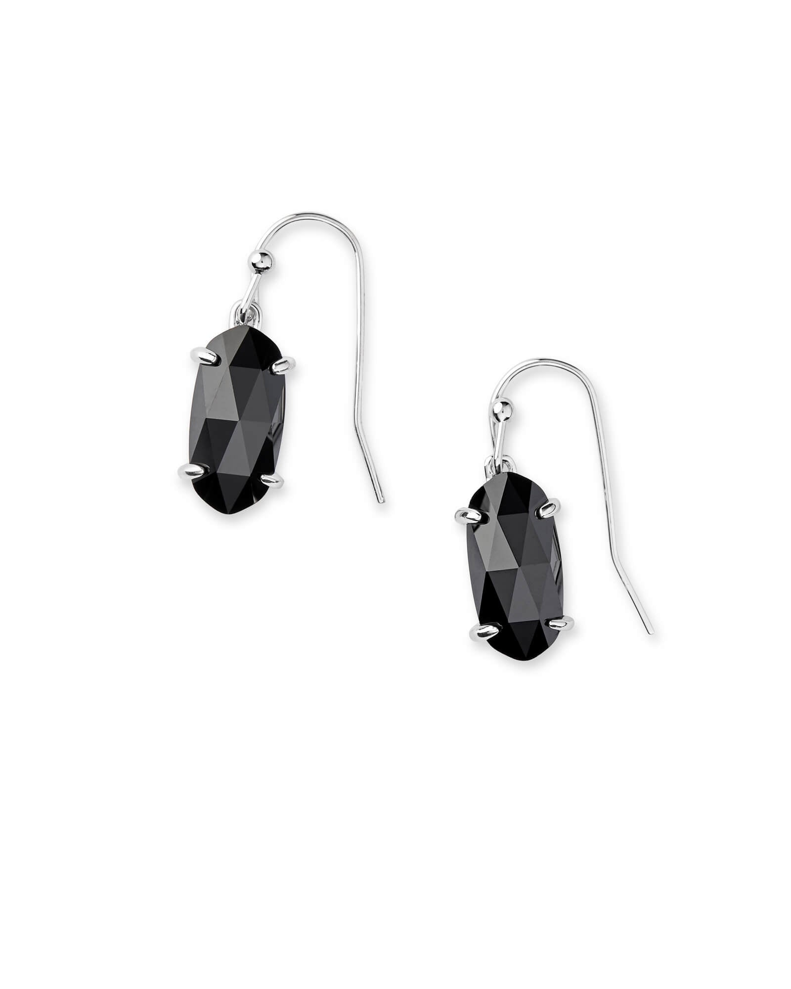 Lemmi Silver Drop Earrings In Black Glass