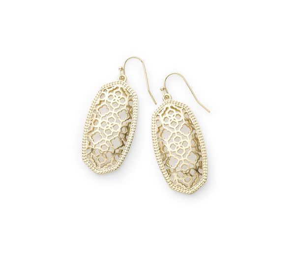 Elle Gold Filigree Metal Earrings