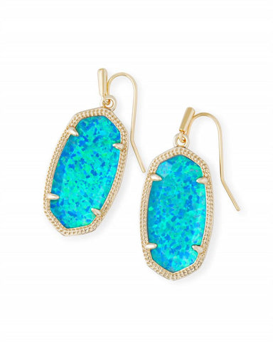Dani Earrings Gold Turquoise Kyocera Opal