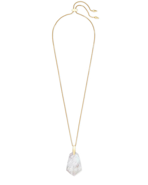 Cam Gold Long Pendant Necklace In Ivory Pearl Kendra Scott