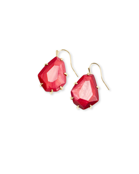 ROSENELL GOLD DROP EARRINGS RED MOTHER OF PEARL