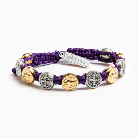 BENEDICTINE BLESSING BRACELET PURPLE WITH MIXED METALS