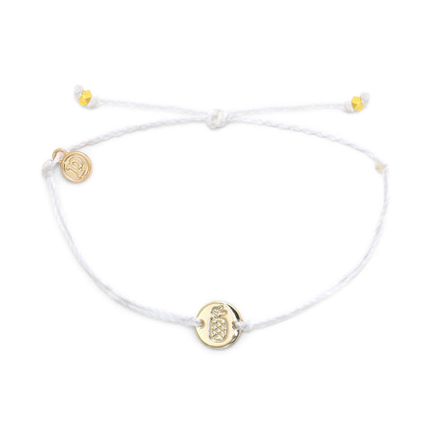PURAVIDA PINEAPPLE COIN BRACELET GOLD WHITE