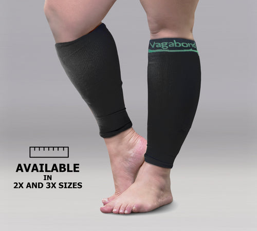 Vagabond XXL Wide Calf Graduated Compression Sleeves-Black