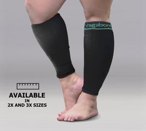 Vagabond XXXL Wide Calf Graduated Compression Sleeves-Black