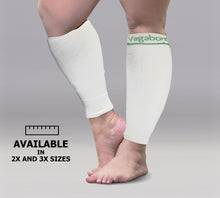 Load image into Gallery viewer, Vagabond XXL and XXXL Wide Calf Graduated Compression Sleeves, White