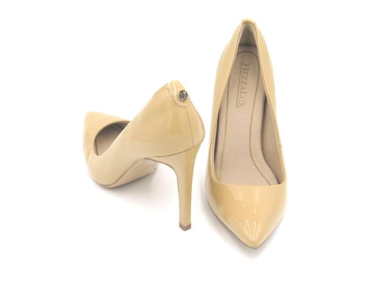 Heidi Pointed Toe Pump - Nude Patent Leather