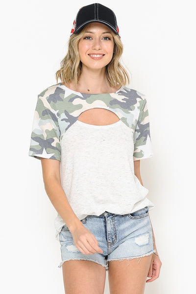 STRIPE AND CAMO CONTRAST TOP