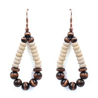 NAVAJO WITH WHITE PEARL AND BRONZE BEAD EARRINGS