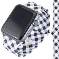 BLACK/WHITE BUFFALO PLAID SILICONE IWATCH BAND