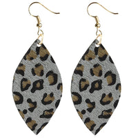 GREY LEOPARD COWHIDE EARRINGS