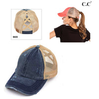 DISTRESSED NAVY CRISS CROSS PONY HAT