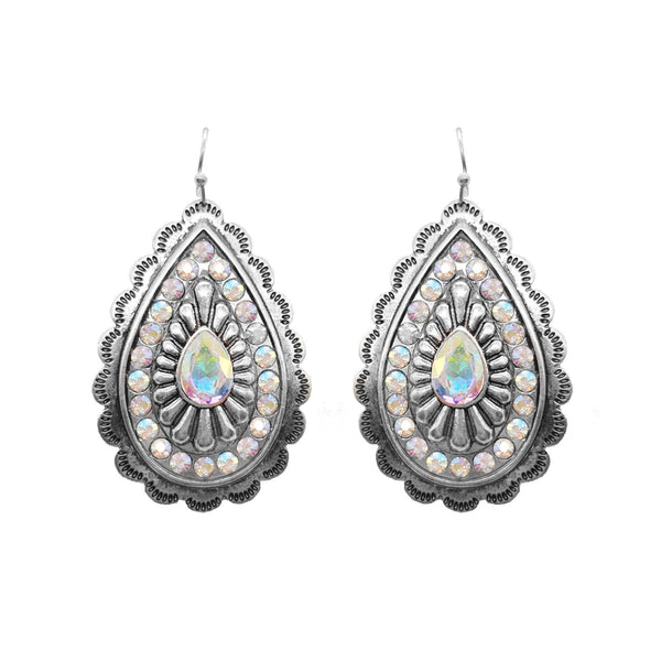 Metal Concho with Rhinestone Earrings