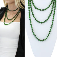 GREEN 60 INCH CLEAR BEAD NECKLACE