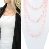 PINK CLEAR 60 INCH BEAD NECKLACE