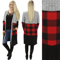 MEDIUM GREY AND BUFFALO PLAID COLORBLOCK CARDIGAN