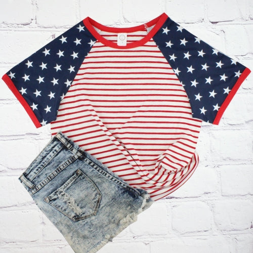 STARS AND STRIPE HALF SLEEVE TOP