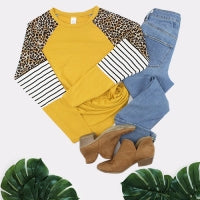 LEO AND STRIPE LONG SLEEVE TOP MUSTARD