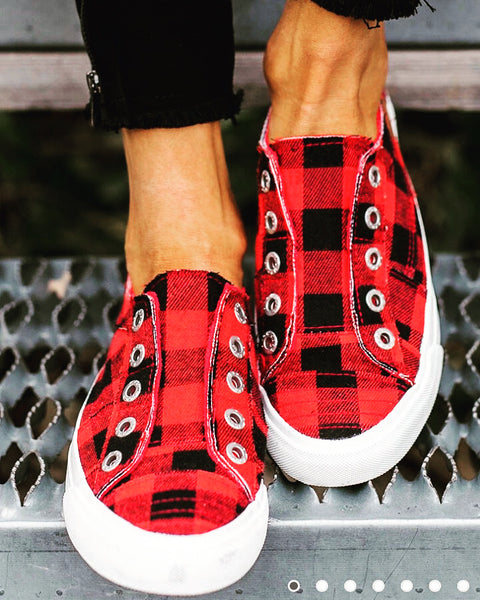 RED BUFFALO PLAID SHOES