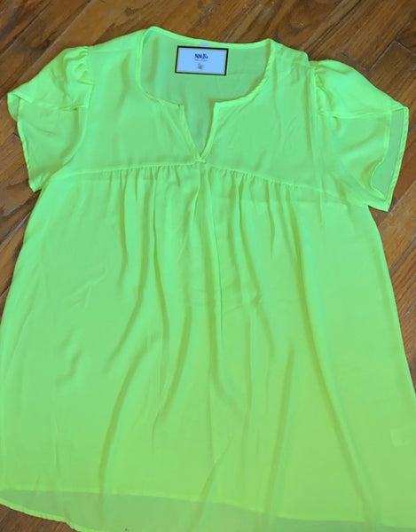 NEON YELLOW FLOWY BABY DOLL TOP
