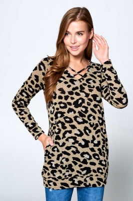 SMALL MOCHA CHEETAH CRISS CROSS TOP