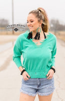 TURQUOISE ABERDEEN DISTRESSED SWEATER