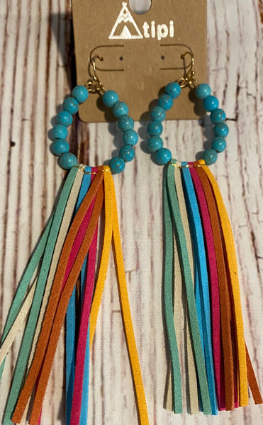 TURQUOISE HOOP WITH MULTI COLOR SUEDE TASSEL EARRINGS