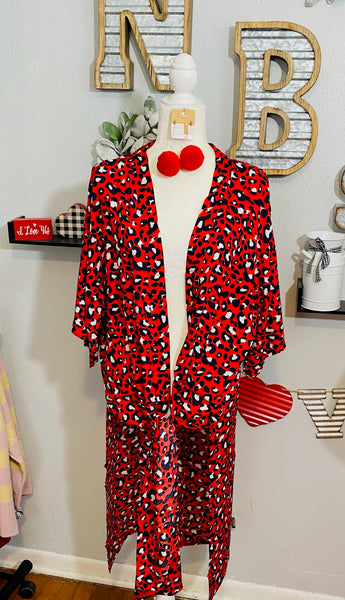 RED WITH NAVY LEOPARD DUSTER