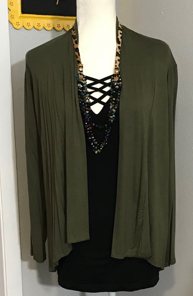 LARGE ARMY GREEN LONG SLEEVE CARDIGAN