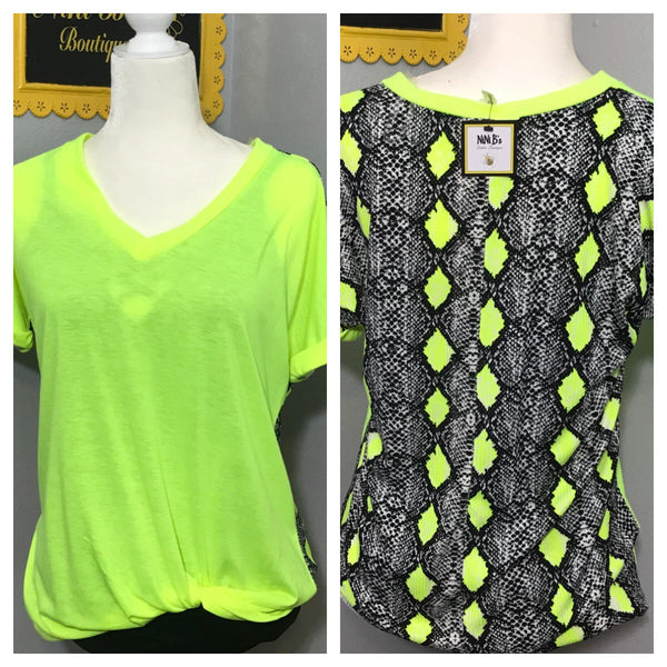 SMALL NEON YELLOW SNAKE BACK TOP