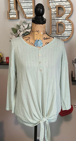 MINT 3 QUARTER SLEEVE TIE TOP