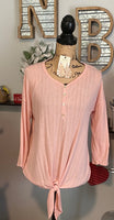 BLUSH 3 QUARTER SLEEVE TIE TOP