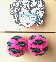 POM POM EARRINGS PINK LEOPARD