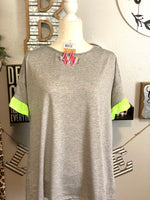 GREY WITH NEON RUFFLE TOP
