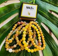 MUSTARD BEADED STACK BRACELET SET
