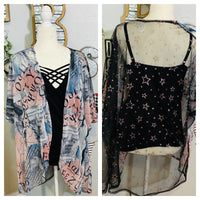 SHEER PRINTED KIMONO WITH ROSE GOLD STARS