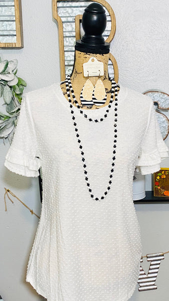 WHITE POMPOM TOP WITH RUFFLE SLEEVES