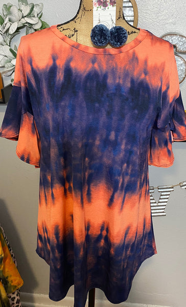 NAVY TIE DYE RUFFLE SLEEVE TOP