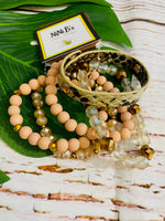 NATURAL STONE WITH SNAKESKIN CUFF STACK BRACELET SET