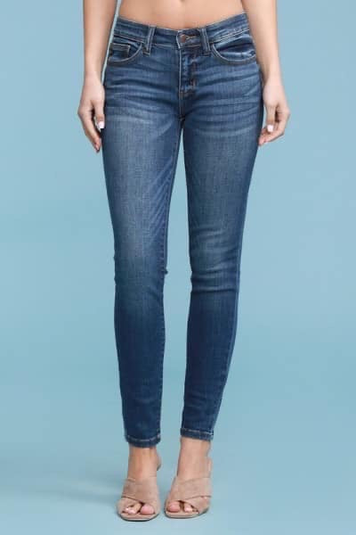 JUDY BLUE MID-RISE HANDSAND RESIN SKINNY JEANS
