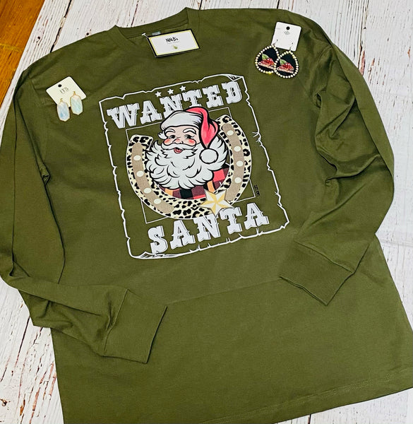 WANTED SANTA LONG SLEEVE TOP