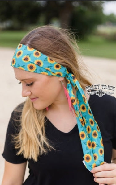 TURQUOISE SUNFLOWER HEADSCARF