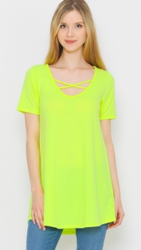NEON YELLOW CRISS CROSS TOP
