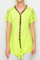 NEON YELLOW LEOPARD AND LACE TIE TOP
