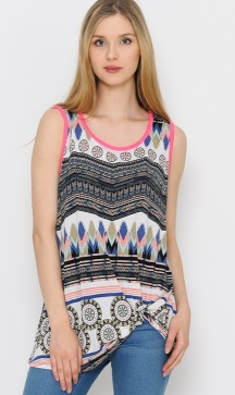 AZTEC AND PINK SLEEVELESS TOP