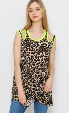 NEON YELLOW LEOPARD DOUBLE STRAP TOP