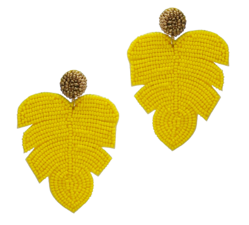YELLOW LEAF SEED BEAD POST EARRINGS