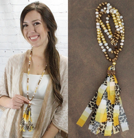 YELLOW LEOPARD TASSEL NECKLACE